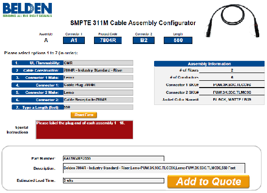 Broadcast Cable Assembly Configurators